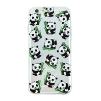 Baby Panda Collage Dense Soft Silicone TPU Clear Transparent Phone Back Case Cover for iPhone 5 5s 6 6s 7 7 Plus