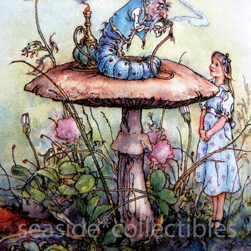 Peter Weevers 100+ Watercolor Illustrations Alice's Adventures in Wonderland by Lewis Carroll 1980s First Edition Hardcover w/ Dust Jacket