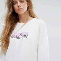 Obey Long Sleeve Skate Top With Floral Embroidered Logo at asos.com