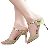 New Arrival Sexy Women High Heels Sandals Shallow Fish Mouth Women Sandals Elegant Summer Ladies Ankle Wrap Wedding Shoes Golden