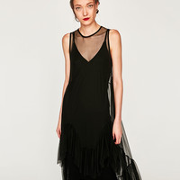 DRESS WITH TULLE FRILLS DETAILS