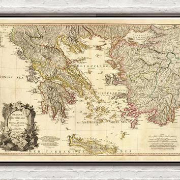 Old Map of Greece 1791 Vintage map