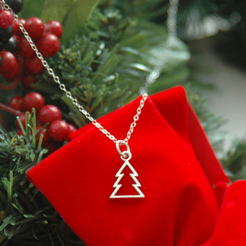 Christmas Tree Necklace, Christmas Necklace, Holiday Necklace, Christmas Charm, Sterling Silver Necklace, Fine Chain Necklace