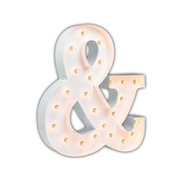 """24"""" Ampersand """"&"""" Vintage Marquee Lights Sign (White Gloss)"""