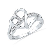 Diamond Sterling Silver Heart Ring 1/10ctw