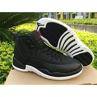 Air Jordan 12 Black Nylon Basketball Shoes 36-47