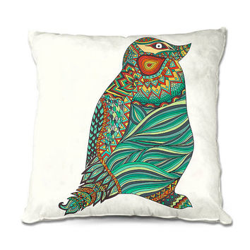Whimsical Multi Color Ethnic Penguin Throw Pillow in Green, Yellow, Turquoise and Orange – 3 Sizes Available
