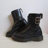 80s Doc Martens Vintage Black Leather Boots Dr. Martens 10 hole Gold Buckle High Cut 1980s Punk Rock Boots 7US