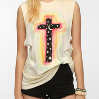 UNIF Mystical Cross Distressed Muscle Tee
