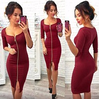 2018 Sexy Slim Zipper Bag Hip Dress