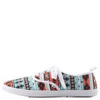 Multi Tribal Print Canvas Sneakers by Charlotte Russe