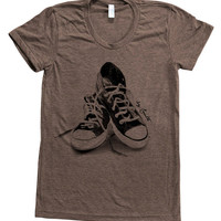 Women T Shirt Custom Hand Screen Printed American Apparel Tri-Blend Short Sleeve Available: S, M, L, XL 9 Color Options