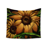 "Cyndi Steen ""Sunflower Days"" Yellow Floral Wall Tapestry"