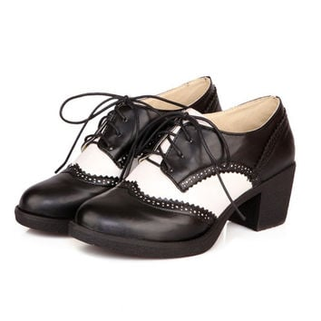 British Style Curved Lace Up High Heels Oxford Shoes For Women Fashion Thick Heels Student Shoes Girl Casual Pumps New 2016