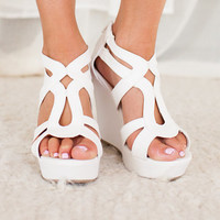 Spring Showers Wedges in White
