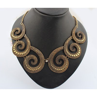 SALE!  WAS $38.00 NOW $18.88 Bronze Swirl Design Rhinestone Retro Bib Necklace