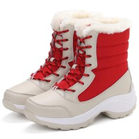 Winter Shoes Women Snow Boots Women Plus Size Platform Boots Winter Female Mid-Calf Warm Botas Mujer 2018 Casual White Booties