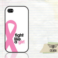 iPhone Case - Fight Like A Girl Breast Cancer Awareness Phone 4 Case, iPhone 4s Case, Cases for iPhone 4, iPhone Cover  (0030)