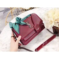 YSL fashion solid color with silk scarf shoulder bag popular casual lady shopping bag Burgundy