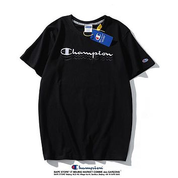 Champion New Embroidered Logo Fashion Men's and Women's Round Neck Top Sports Short Sleeve Pure Cotton T-Shirt