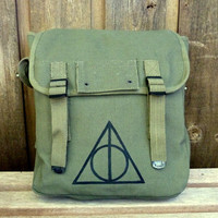 Harry Potter Deathly Hallows Hand Painted on a Vintage Style Military Canvas Backpack / Rucksack