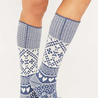Blue and Ivory Fair Isle Socks - Urban Outfitters