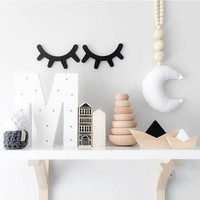 Cute Eyelash Baby Room Decoration Wall Stickers Wood Baby Cribs Room Kids Room Decoration Wall Sticker 1 Pair Photography Props