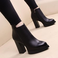 Ankle High Thick Pointed Toe Thick Square High Heels Women's Winter Boots