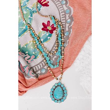 Backroad Beauty Turquoise Squash Blossom Necklace