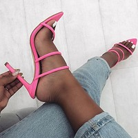 Candy bright Cutout Rome High heels Women's shoes Rose red