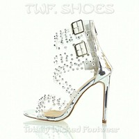 """Bella Luna Moto Clear Studded Multi Strap 4.5"""" High Heel Shoes Boots 6-10"""