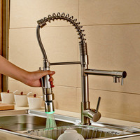 LED Colors Brushed Nickel Kitchen Faucet Swivel Spout