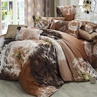 Dandelion Print Brown Cotton Luxury 4-Piece Bedding Sets/Duvet Covers