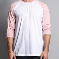 Men's Baseball T-Shirt (White/Dirty Pink)