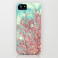 Pink flowers in the early morning iPhone Case by Guido Montañés