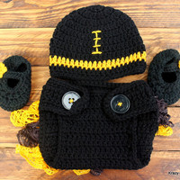 Crochet Black and Gold Infant Girl Set - Hat, Ruffled Diaper Cover, Slippers - size 3-6 Months