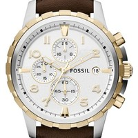 Men's Fossil 'Dean' Chronograph Leather Strap Watch, 45mm
