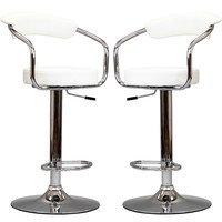 LexMod Two 50's Diner Bar Stools in White