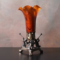 Small Tulip Lamp with Cherubs and Metal Base, Bedside Lamp, Accent Lighting, Handblown Glass Shade