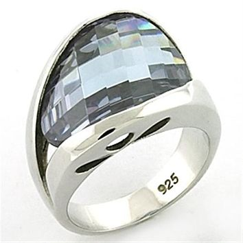 Sterling Silver Band Rings LOAS774 Rhodium 925 Sterling Silver Ring with CZ