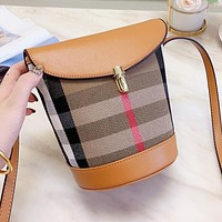 BURBERRY Fashion Women Leather Satchel Crossbody Shoulder Bag Plaid Bucket Bag