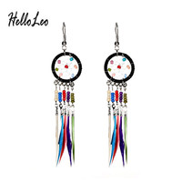 New Bohemia colorful Long fantasy Feather Beads hand made Design Dream Catcher Earrings for Women Jewelry gifrs free shipping
