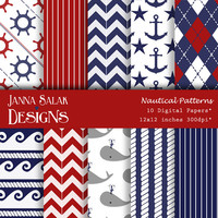 Cute Nautical Patterns Anchor Rope Whale Digital Scrapbook Paper INSTANT DOWNLOAD - 10 jpg files 12x12