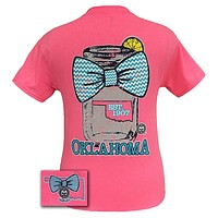 Sale Girlie Girl Originals Oklahoma Chevron Mason Jar Preppy State Bow Bright T Shirt