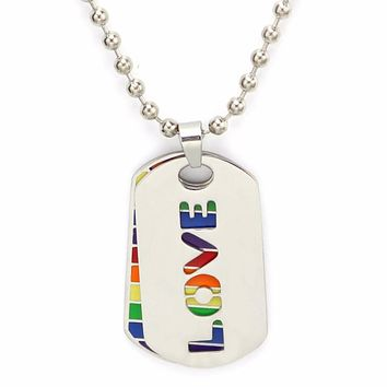 NECKLACE JEWELRY LGBT Stainless Steel Rainbow Two Layer dog tags