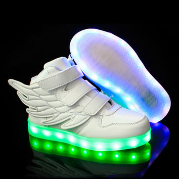 DoGeek Kids LED Light up Shoes High Top Wings Boys&Girls Casual Shoes USB Charging Basket Led Luminous Sneakers Glowing Shoes