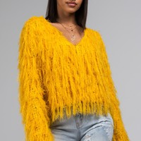 AKIRA Label Feather Cardigan in Yellow, Red