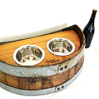 Wine Barrel Dog Bowl serving dish V2 made from Napa Wine Barrels -100% recycled