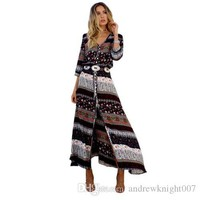 Women M-3XL Beach Boho Maxi Dress Summer High Quality Brand V-neck Print Vintage Long Dresses Feminine Plus Size