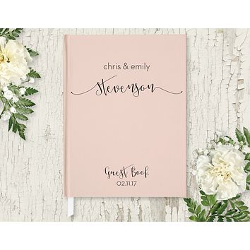 Wedding Guest Book, Hardcover, Modern Blush Pink, Choice of Colors & Sizes